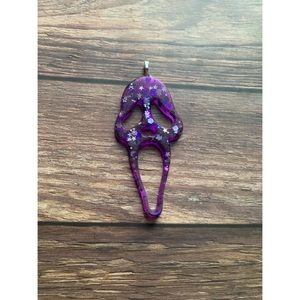 Purple Glitter Ghostface Necklace Pendant